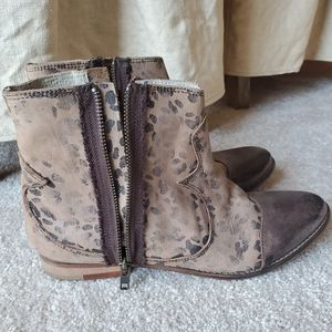 Free People western/cheetah print ankle boots